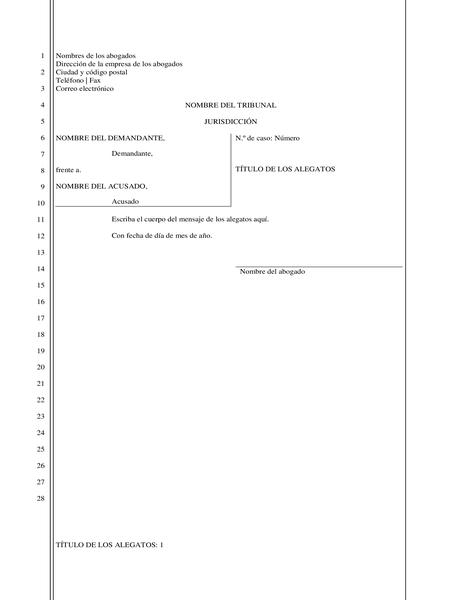 Escrito jurídico (28 líneas)