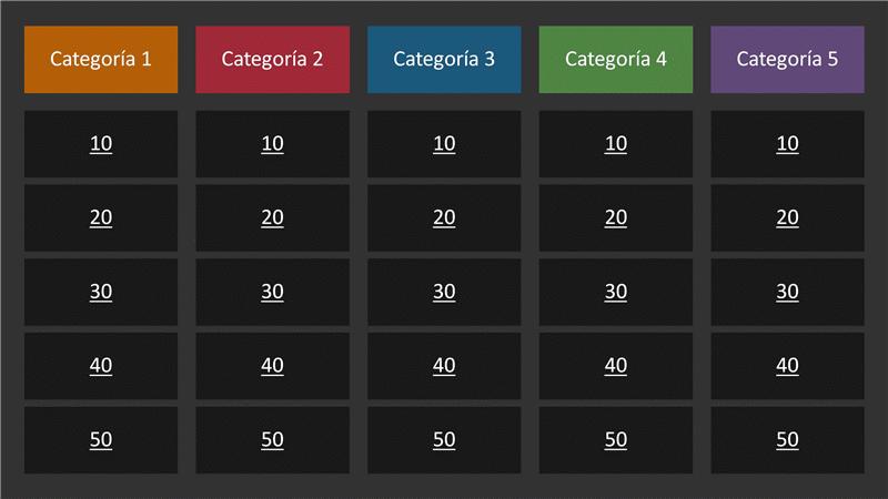Concurso (categorías en varios colores, panorámica)