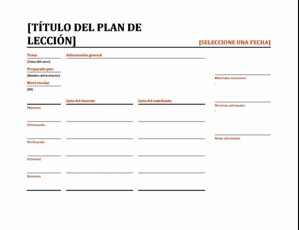Planificador de clases diarias (color)