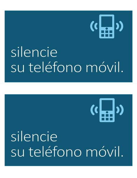 Cartel de no teléfonos móviles (2 por página)