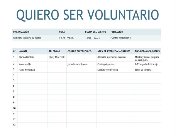Hoja de suscripción voluntariado