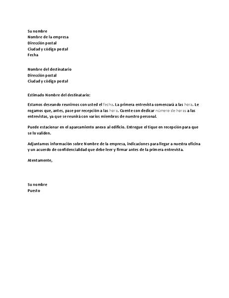 Carta de confirmación de entrevista de trabajo del candidato