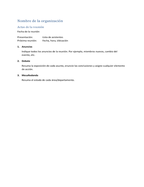 Actas de la reunión (forma abreviada)