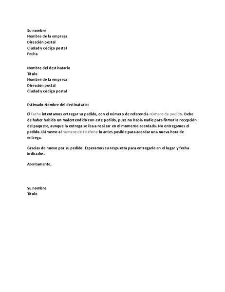 Notificación de una entrega fallida al cliente