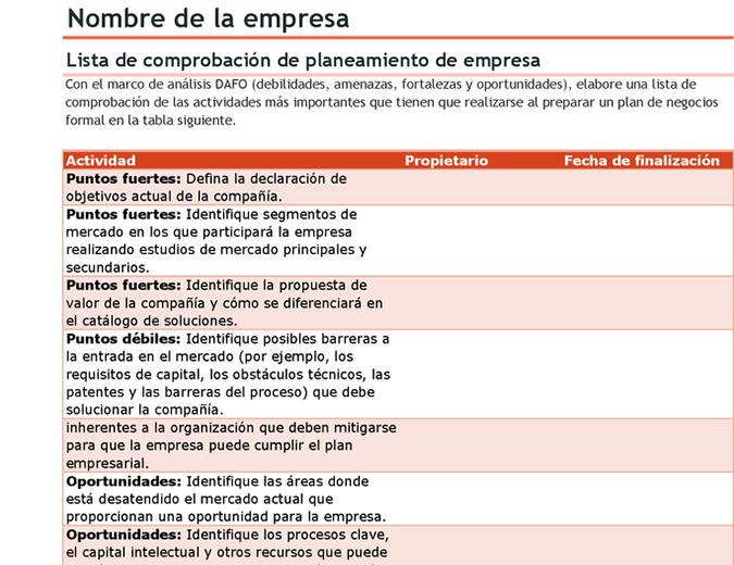 Lista de comprobación de plan de negocios con análisis DAFO