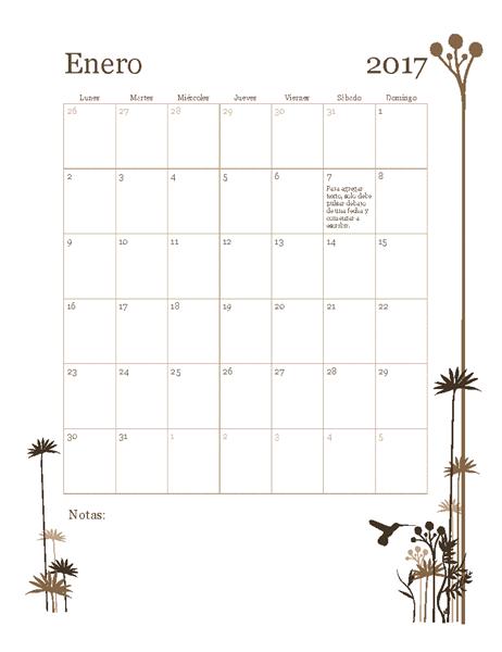 Calendario fotográfico de 2017 (de lunes a domingo)