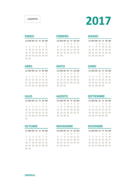 Calendario de 2017 de vista anual (de lunes a domingo)