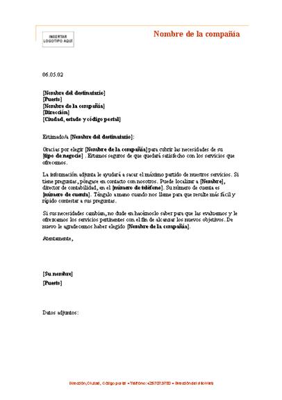 Carta de presentación para un cliente nuevo