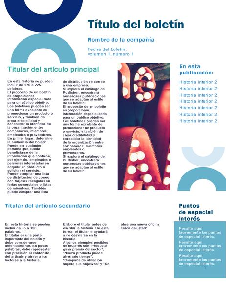 Boletín de la empresa (diseño arco, 4 páginas)