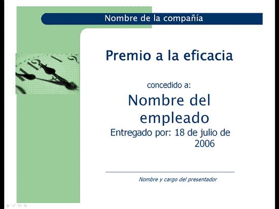Premio a la eficacia (tema Cápsulas)
