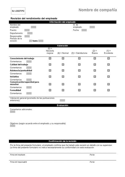 Revisión del rendimiento del empleado (formulario abreviado)