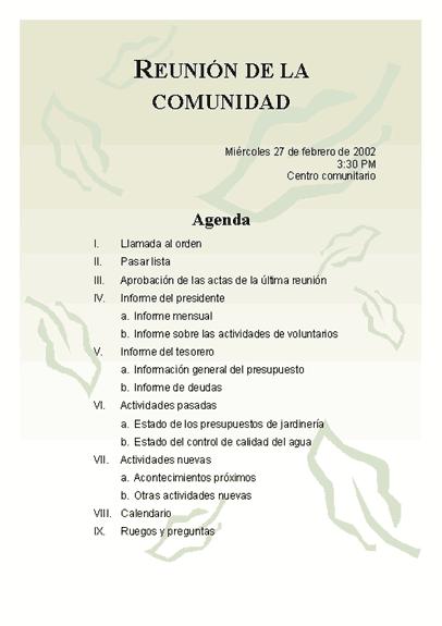 Agenda de la reunión de la comunidad