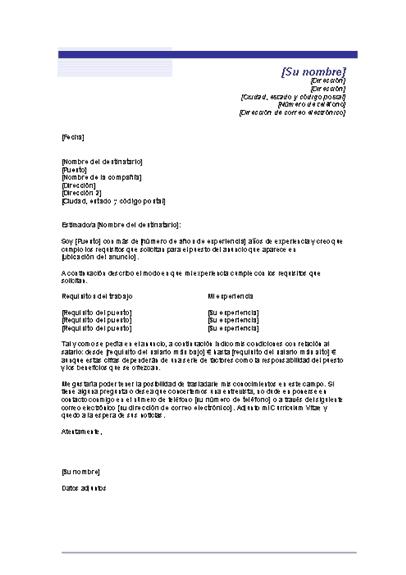 Carta de presentación con requisitos salariales (Tema de línea azul)