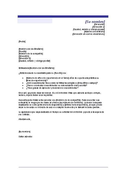 Carta de presentación para un currículo no solicitado (Tema de línea azul)