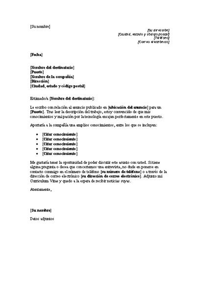 Carta de presentación para responder a un anuncio que solicita un puesto técnico