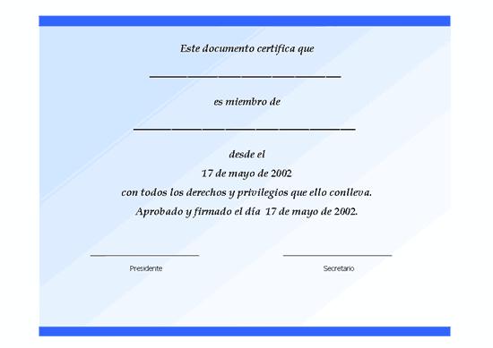 Certificado de socio