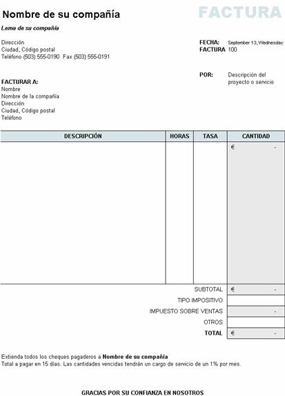 Factura de servicios con cálculo de impuestos