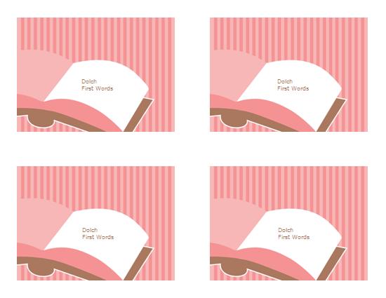 Tarjetas de aprendizaje de vocabulario (primeras palabras visuales de Dolch; revés; funciona con Avery 3263, 8387)