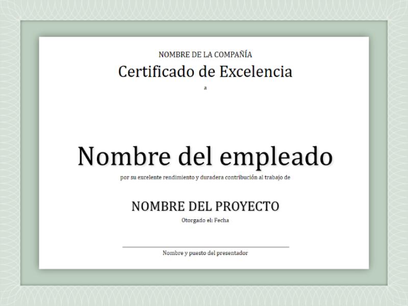 Certificado de excelencia del empleado