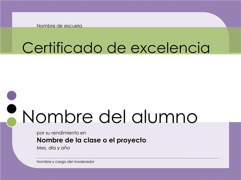 Certificado de excelencia para estudiante