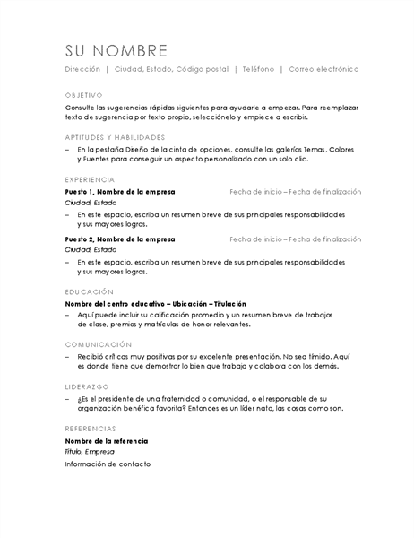 Currículo cronológico (diseño Minimalista)