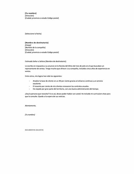 Carta de presentación para responder a un anuncio, breve