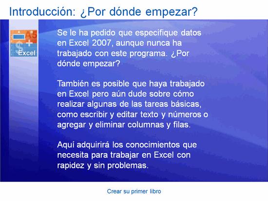 Presentación de formación, Excel 2007: Crear su primer libro