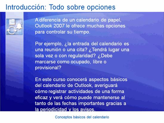 Presentación de formación, Outlook 2007: Conceptos básicos del calendario