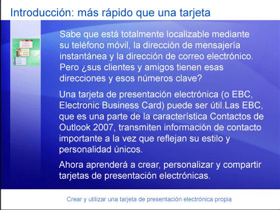 Presentación de formación: Outlook 2007: Crear y utilizar una tarjeta de presentación electrónica propia