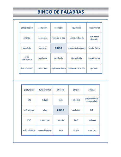 Cartón de bingo con palabras de moda