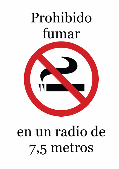 Cartel de prohibido fumar (color)