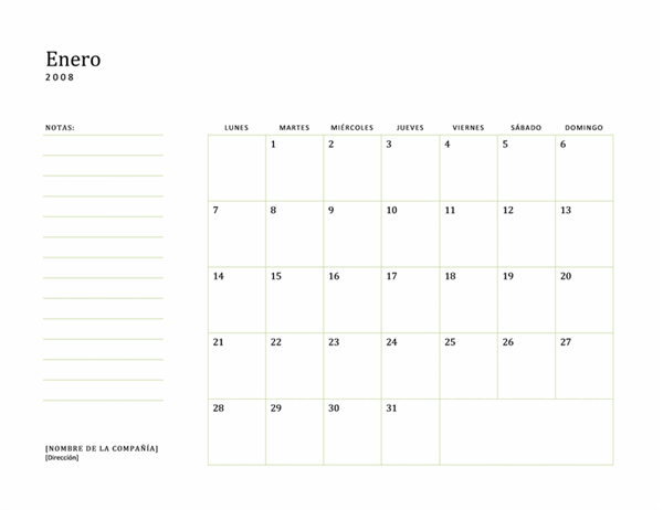 Calendario laboral de 2008 (lun-dom)