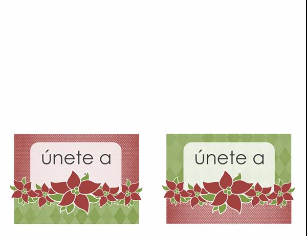 Invitación por festividad (diseño con poinsettias)