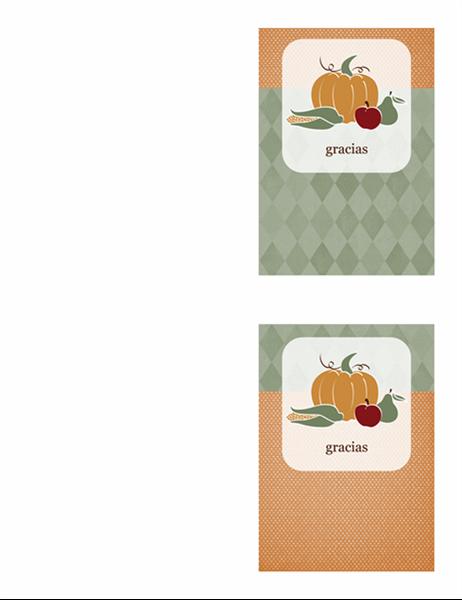 Tarjeta de agradecimiento (diseño con alimentos)