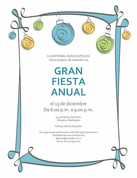 Invitación por festividad con adornos azules, verdes y amarillos (diseño informal)