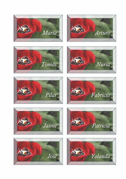 Tarjetas de lugar (diseño floral)