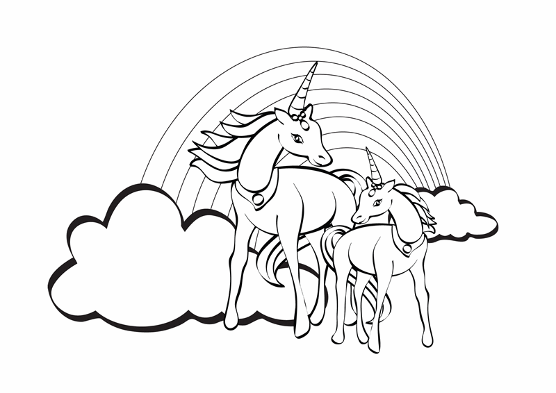 Hoja para colorear (diseño de unicornio)