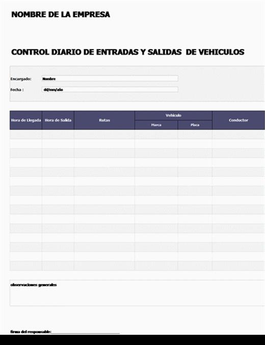 Control de entrada y salida (vehículos)