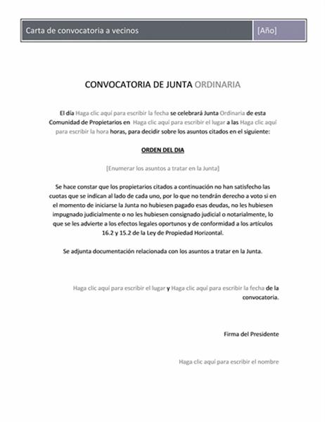 Carta de convocatoria a vecinos