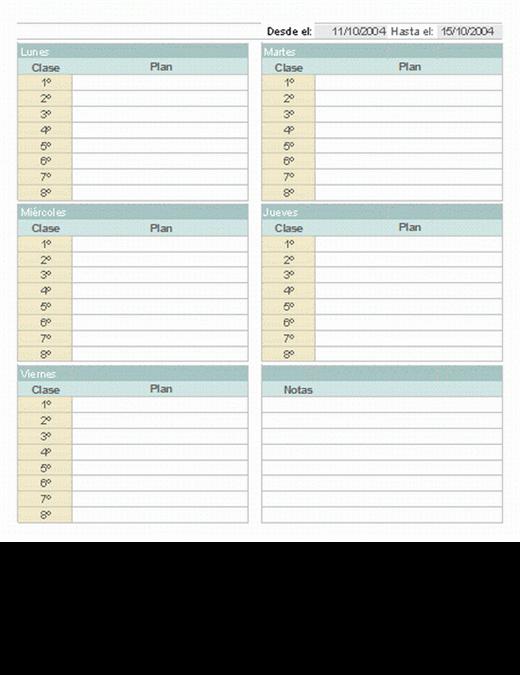 Plan semanal para clases