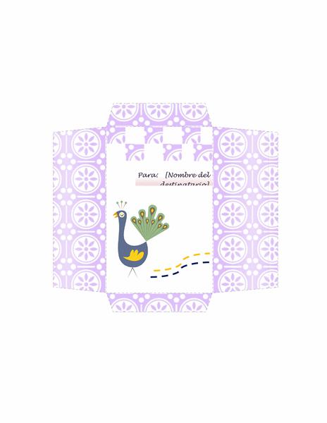 Sobre de dinero (diseño de pavo real)