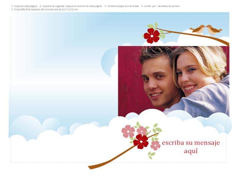 Tarjeta de felicitación con foto (diseño con flores y pájaros, doblada por la mitad)