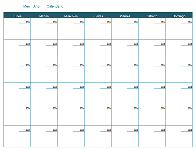 Calendario mensual en blanco - Office Templates