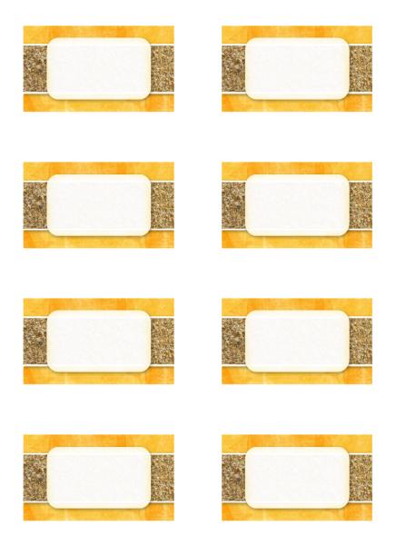 Tarjetas personales o de lugares (diseño de sol y arena, 8 por pág.)