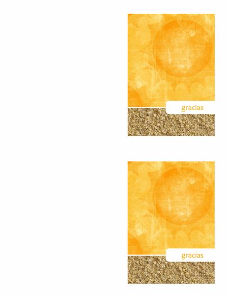 Tarjeta de agradecimiento (diseño con sol y arena)