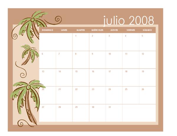 Calendario académico 2008-2009 (temas mensuales, 13 pág., julio-julio)
