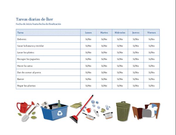Lista de comprobación de las tareas domésticas de los niños