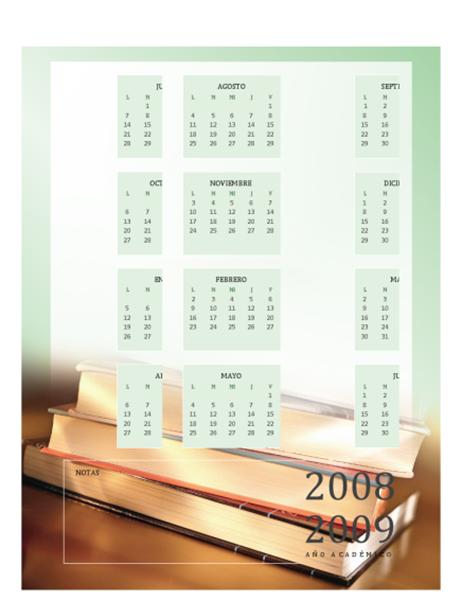 Calendario académico 2008-2009 (1 pág., lun-vie)