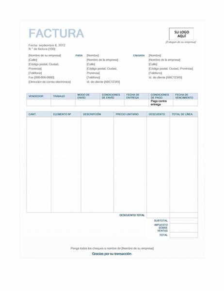 Factura de ventas (diseño de fondo azul)