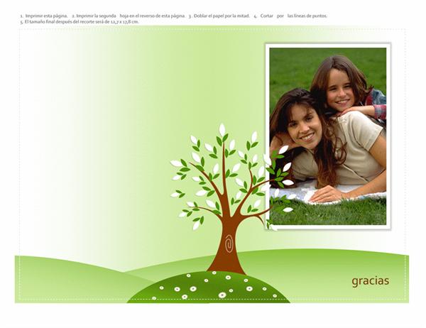 Tarjeta de felicitación con foto (diseño de árbol, doblada por la mitad)